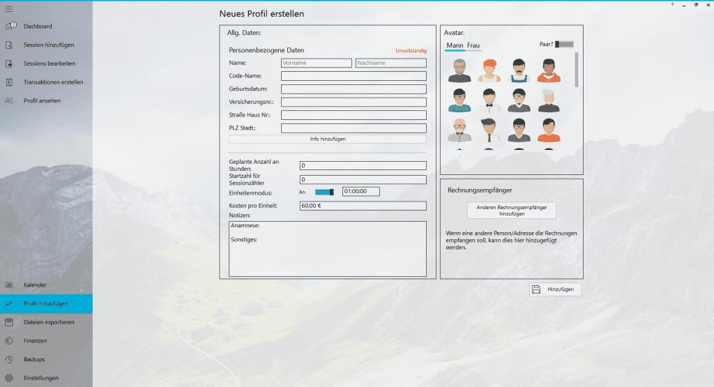 Praxisverwaltung Praxissoftware TheraPsy Stammdaten aufnehmen