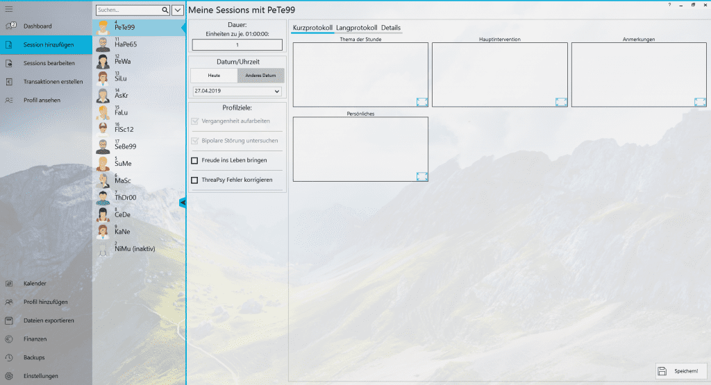 Praxisverwaltung Praxissoftware TheraPsy Einheiten dokumentieren
